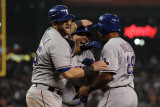 Rangers v Detroit Tigers - Detroit, MI - Oct. 12: Mike Napoli, Nelson Cruz and Adrian Beltre Photographic Print by Harry How