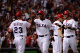 Detroit Tigers v Rangers - Arlington, TX - Oct. 15: Adrian Beltre, Mike Napoli and Craig Gentry Photographic Print by Kevork Djansezian