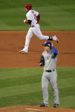 Texas Rangers v St Louis Cardinals, St Louis, MO - Oct. 27: Allen Craig and Derek Holland Photographic Print by Doug Pensinger
