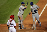 Rangers v Cardinals, St Louis, MO - Oct. 27: Nelson Cruz, Mike Napoli and Yadier Molina Photographic Print by Doug Pensinger