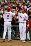 Texas Rangers v St Louis Cardinals, St Louis, MO - Oct. 27: Lance Berkman and David Freese Photographic Print by  Pool
