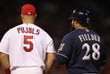 Brewers v St. Louis Cardinals - G. Four, St Louis, MO - Oct. 13: Albert Pujols and Prince Fielder Photographic Print by Jamie Squire