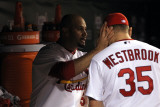 Texas Rangers v St Louis Cardinals, St Louis, MO - Oct. 27: Albert Pujols and Jake Westbrook Photographic Print by Jamie Squire