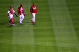 Rangers v Cardinals, St Louis, MO - Oct. 27: Yadier Molina, Jaime Garcia and Dave Duncan Photographic Print by Dilip Vishwanat