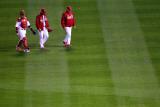 Rangers v Cardinals, St Louis, MO - Oct. 27: Yadier Molina, Jaime Garcia and Dave Duncan Photographic Print by Dilip Vishwanat