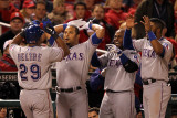 Texas Rangers v St Louis Cardinals, St Louis, MO - Oct. 27: Adrian Beltre and Yorvit Torrealba Photographic Print by Jamie Squire