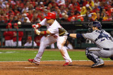 Milwaukee Brewers v St. Louis Cardinals - Game Three, St Louis, MO - October 12: Rafael Furcal Photographic Print by Dilip Vishwanat