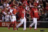 Rangers v Cardinals, St Louis, MO - Oct. 27: Yadier Molina, Jaime Garcia and Dave Duncan Photographic Print by Ezra Shaw