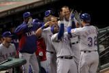 Rangers v Cardinals - Oct. 27: Josh Hamilton, Esteban German, Yorvit Torrealba and David Murphy Photographic Print by Doug Pensinger