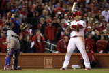 Texas Rangers v St Louis Cardinals, St Louis, MO - Oct. 27: Albert Pujols and Mike Napoli Photographic Print by Jamie Squire