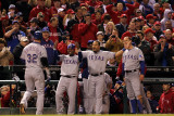 Rangers v Cardinals - Oct. 27: Josh Hamilton, Esteban German, Yorvit Torrealba and David Murphy Photographic Print by Jamie Squire