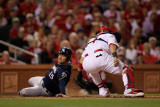 Brewers v St. Louis Cardinals - G. Four - Oct. 13: Jerry Hairston Jr. and Yadier Molina Photographic Print by Jamie Squire