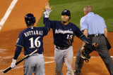 Brewers v St. Louis Cardinals - G. Four - Oct. 13: Jerry Hairston Jr. and George Kottaras Photographic Print by Dilip Vishwanat