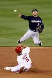 Brewers v Cardinals - G. Five, St Louis, MO - Oct. 14: Jerry Hairston Jr. and Albert Pujols Photographic Print by Christian Petersen