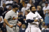 Cardinals v Milwaukee Brewers - G. Six, Milwaukee, WI - Oct. 16: Prince Fielder and Albert Pujols Photographic Print by Christian Petersen