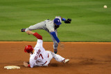 Texas Rangers v St Louis Cardinals, St Louis, MO - Oct. 27: Elvis Andrus and Matt Holliday Photographic Print by Doug Pensinger