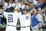 Texas Rangers v Detroit Tigers - Game Five, Detroit, MI - Oct. 13: Delmon Young and Victor Martinez Lámina fotográfica por Harry How