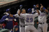 Rangers v Cardinals - Oct. 27: Adrian Beltre, Ron Washington, Yorvit Torrealba and Elvis Andrus Photographic Print by Doug Pensinger