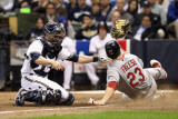 Cardinals v Milwaukee Brewers - G. Six, Milwaukee, WI - Oct. 16: David Freese and Jonathan Lucroy Photographic Print by Christian Petersen