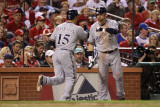 Brewers v St. Louis Cardinals - Oct. 12: Jerry Hairston Jr. and Mark Kotsay Photographic Print by Christian Petersen