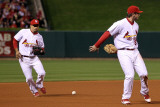 Texas Rangers v St Louis Cardinals, St Louis, MO - Oct. 27: David Freese and Rafael Furcal Photographic Print by Ezra Shaw