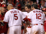 Rangers v Cardinals, St Louis, MO - Oct. 27: David Freese, Albert Pujols and Lance Berkman Photographic Print by Jamie Squire