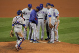 Texas Rangers v St Louis Cardinals, St Louis, MO - Oct. 27: Colby Lewis and Ron Washington Photographic Print by Doug Pensinger
