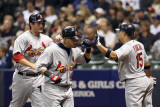 Cardinals v Brewers - Milwaukee, WI - Oct. 16: David Freese, Yadier Molina and Rafael Furcal Photographic Print by Christian Petersen