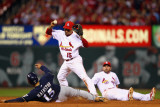 Brewers v Cardinals - G. Five, St Louis, MO - Oct. 14: Jerry Hairston Jr. and Rafael Furcal Photographic Print by Dilip Vishwanat