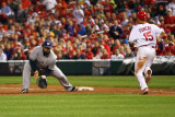 Brewers v St. Louis Cardinals - G. Three, St Louis, MO - Oct. 12: Prince Fielder and Rafael Furcal Photographic Print by Dilip Vishwanat