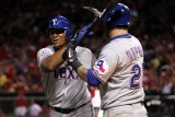 Texas Rangers v St Louis Cardinals, St Louis, MO - Oct. 27: Adrian Beltre and Mike Napoli Photographic Print by Ezra Shaw