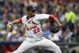 St Louis Cardinals v Milwaukee Brewers - Game Six, Milwaukee, WI - October 16: Edwin Jackson Photographic Print by Christian Petersen
