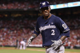 Milwaukee Brewers v St. Louis Cardinals - Game Four, St Louis, MO - October 13: Nyjer Morgan Photographic Print by Christian Petersen