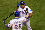 Texas Rangers v St Louis Cardinals, St Louis, MO - Oct. 27: Adrian Beltre and Mike Napoli Photographic Print by Dilip Vishwanat