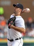 Texas Rangers v Detroit Tigers - Playoffs Game Five, Detroit, MI - October 13: Justin Verlander Photographic Print by Leon Halip