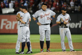 Detroit Tigers v Rangers - Oct. 15: Miguel Cabrera, Brandon Inge, Jhonny Peralta and Ramon Santiago Photographie par Harry How