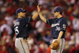 Brewers v St. Louis Cardinals - G. Four - Oct. 13: Jerry Hairston Jr. and Craig Counsell Photographic Print by Jamie Squire