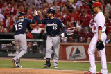 Brewers v St. Louis Cardinals - Oct. 13: Jerry Hairston Jr., George Kottaras and Kyle Lohse Photographic Print by Christian Petersen