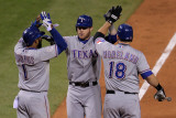 Rangers v Cardinals, St Louis, MO - Oct. 27: Elvis Andrus, Josh Hamilton and Mitch Moreland Photographic Print by Doug Pensinger