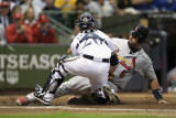 Cardinals v Milwaukee Brewers - G. Six, Milwaukee, WI - Oct. 16: Albert Pujols and Jonathan Lucroy Photographic Print by Jonathan Daniel