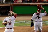Texas Rangers v St Louis Cardinals, St Louis, MO - Oct. 27: Lance Lynn and Yadier Molina Photographic Print by Rob Carr