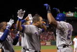 Rangers v Cardinals - Oct. 27: Adrian Beltre, Esteban German, Yorvit Torrealba and Elvis Andrus Photographic Print by Ezra Shaw