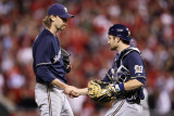 Brewers v St. Louis Cardinals - G. Four, St Louis, MO - Oct. 13: John Axford and Jonathan Lucroy Photographic Print by Christian Petersen