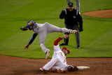Texas Rangers v St Louis Cardinals, St Louis, MO - Oct. 27: Elvis Andrus and Matt Holliday Photographic Print by Rob Carr 