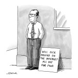A man with glasses and a tie is standing on a street corner beside a sign … - New Yorker Cartoon Premium Giclee Print by Joe Dator