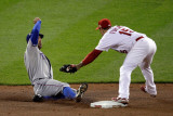 Texas Rangers v St Louis Cardinals, St Louis, MO - Oct. 27: David Murphy and Rafael Furcal Photographic Print by  Rob Carr