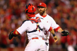 Brewers v St. Louis Cardinals - G. Three, St Louis, MO - Oct. 12: Jason Motte and Yadier Molina Photographic Print by Dilip Vishwanat