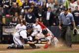 Cardinals v Brewers - G. Six, Milwaukee, WI - Oct. 16: Matt Holliday and Jonathan Lucroy Photographic Print by Christian Petersen