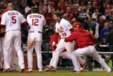Rangers v Cardinals, St Louis, MO - Oct. 27: David Freese, Albert Pujols and Lance Berkman Photographie par Jamie Squire