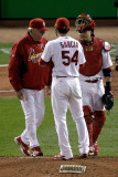 Rangers v Cardinals, St Louis, MO - Oct. 27: Dave Duncan, Jaime Garcia and Yadier Molina Photographic Print by Rob Carr